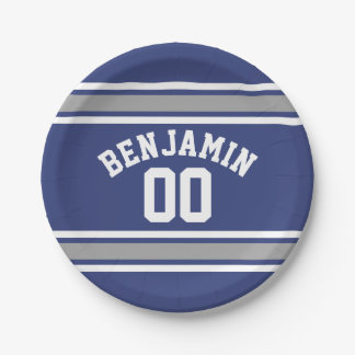 Blue and Silver Sports Jersey Custom Name Number 7 Inch Paper Plate