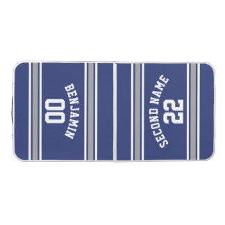Blue and Silver Sports Jersey Custom Name Number Beer Pong Table