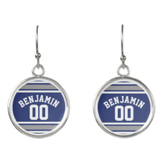 Blue and Silver Sports Jersey Custom Name Number Earrings