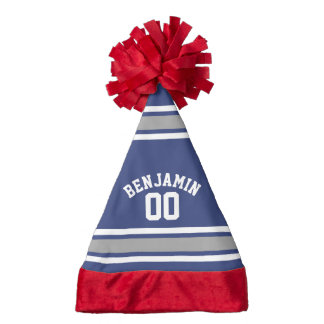 Blue and Silver Sports Jersey Custom Name Number Santa Hat