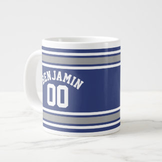 Blue and Silver Sports Jersey Custom Name Number Large Coffee Mug