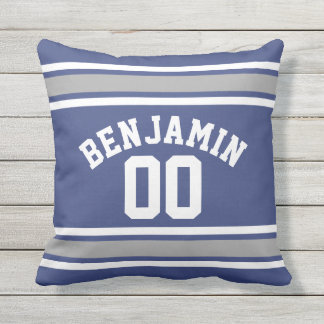 Blue and Silver Sports Jersey Custom Name Number Outdoor Cushion