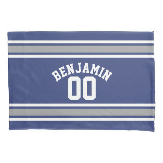 Blue and Silver Sports Jersey Custom Name Number Pillowcase