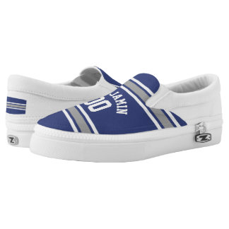 Blue and Silver Sports Jersey Custom Name Number Slip-On Shoes
