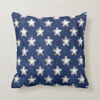 Blue and Silver Stars Pillow