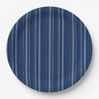 """Blue and Silver Striped 9"""" Paper Plates"""