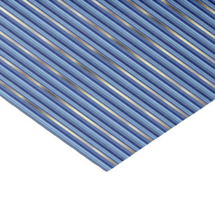 Blue and Silver Stripes Tissue Paper