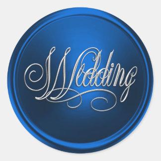 Blue and Silver Wedding Envelope Seal Round Sticker