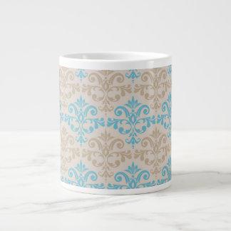 Blue and Tan Damask 3 Jumbo Mug