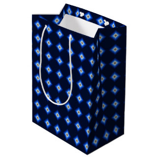 Blue and Tan Diamond Medium Gift Bag