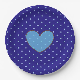 Blue and Tan Polka Dotted Party Plate 9 Inch Paper Plate
