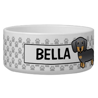 Blue And Tan Smooth Coat Dachshund Pet Food Bowls