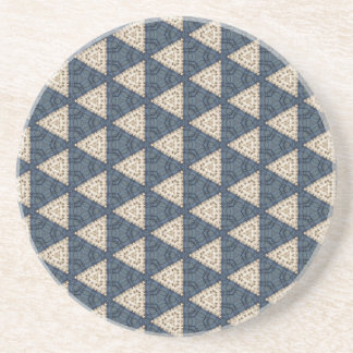 blue and taupe triangle pattern coaster