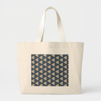 blue and taupe triangle pattern large tote bag