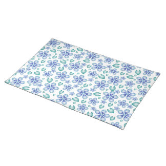 Blue and Teal Flowers Placemats