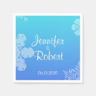 Blue and Teal Snowflake Posh Wedding Napkins Disposable Serviette
