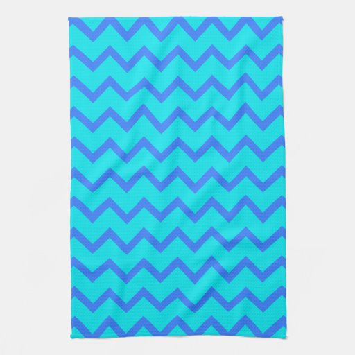 Blue and Teal Zigzag Pattern. Towel