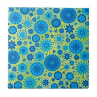 Blue and Turquoise Hippy Flower Pattern Small Square Tile