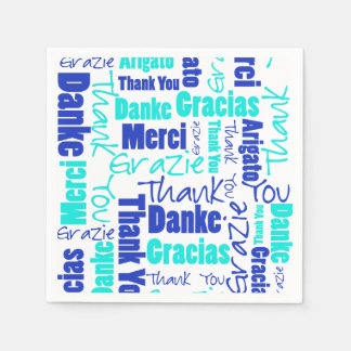 Blue and Turquoise Multilingual Thank You Paper Napkin
