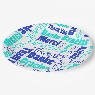 Blue and Turquoise Multilingual Thank You Paper Plate