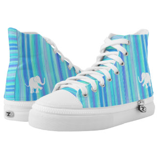 Blue and turquoise stripes with white elephant high tops
