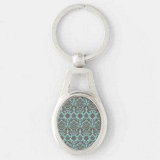 Blue and Umber Elegant Damask Pattern Key Ring