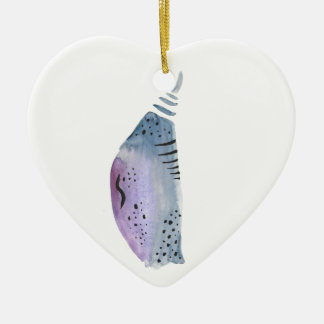 Blue and violet cocoon ceramic ornament