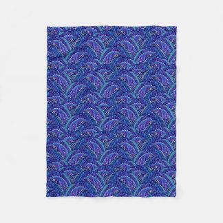 Blue and violet waves fleece blanket
