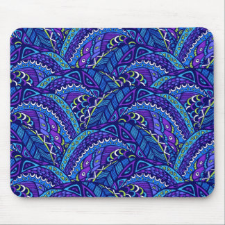 Blue and violet waves mouse pad