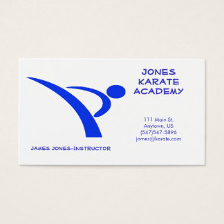 Blue and WhiMartial Arts Instructor Business Card