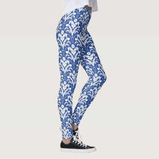 Blue and White 1930s Floral Damask Leggings