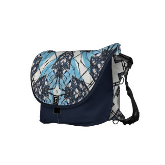 Blue and White Abstract Dutch House Sketch Commuter Bag