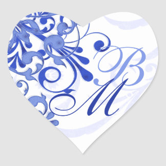Blue and White Abstract Floral Envelope Seal Heart Sticker