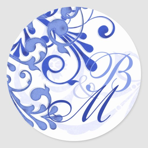 Blue and White Abstract Floral Envelope Seal Stickers
