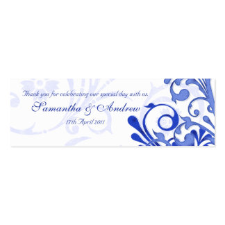 Blue and White Abstract Floral Favour Tags Business Card Template