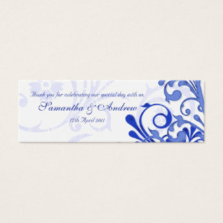 Blue and White Abstract Floral Favour Tags Mini Business Card