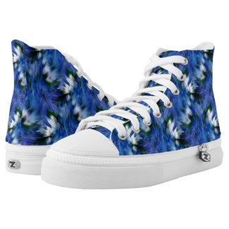 Blue And White Abstract Pattern Printed Shoes