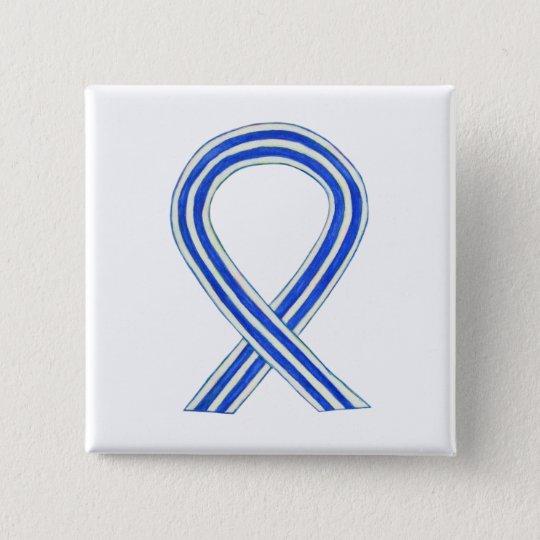 Blue and White ALS Ribbon Awareness Custom Pin