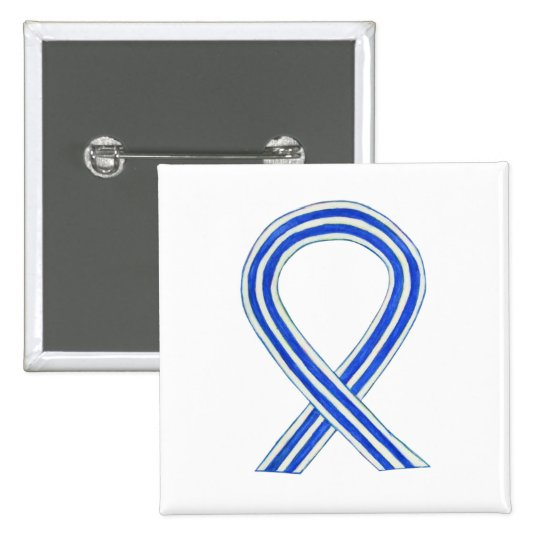 Blue and White ALS Ribbon Awareness Custom Pin