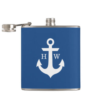 Blue and White Anchor Monogram Hip Flask