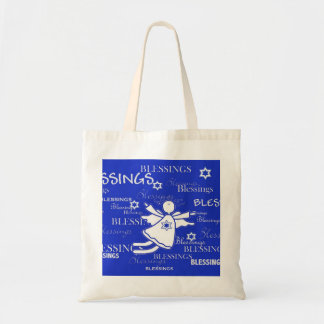 Blue and  White Angel Blessings Holiday Tote Budget Tote Bag