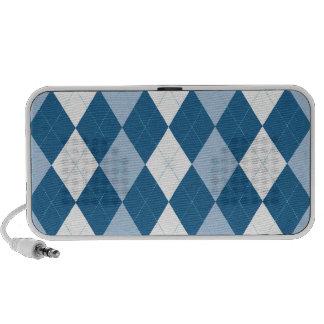 Blue and White Argyle Doodle Speaker