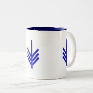 Blue and white arrow pattern design mug