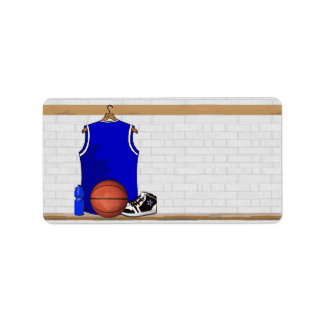 Blue and White Basketball Jersey Label