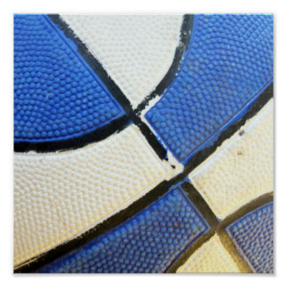 Blue and White Basketball Poster