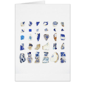 Blue and White Beach China Card
