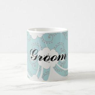 blue and white boho chic flower damask pattern basic white mug