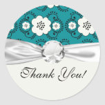 blue and white boho chic flower damask pattern round sticker