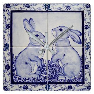 Blue and White Bunny Rabbit Tile Clock Dedham Navy