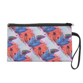Blue And White Butterfly And Flower Writslet Wristlet Purse